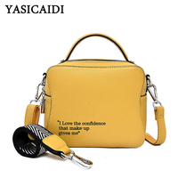 YASICAIDI England Style Letter Prints Flap PU Top Handle Bags Rivet Decor Detachable Nylon Leather Shoulder Strap Crossbody Bag