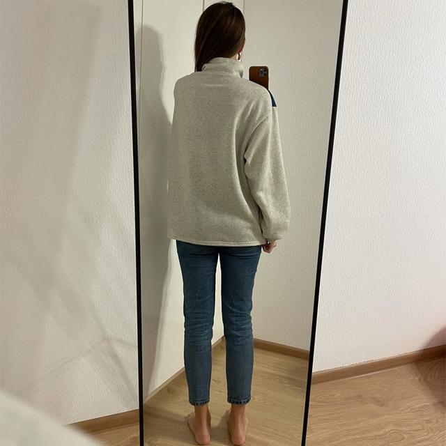 GOPLUS Women Hoodie Collar Sweatshirts Stand Half Zipper Letter Printing Long Sleeve Sweatshirts Vintage Casual Plus Size Hoodie 3