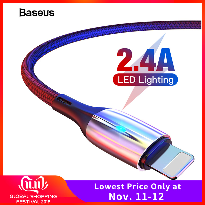 Baseus Lighting USB Cable For iPhone Xs Max Xr X S 2.4A Fast Charging Data Cable For iPhone 8 7 6 iPad Mobile Phone Charger Cord-in Mobile Phone Cables from Cellphones & Telecommunications on AliExpress - 11.11_Double 11_Singles' Day