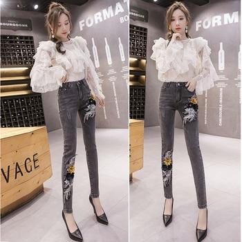 цены Jeans for Women Cotton Egirl Clothes Aesthetic Jeans Wide Leg Pants Korean Style Embroideredubrania High Waist Jeans Black Jeans