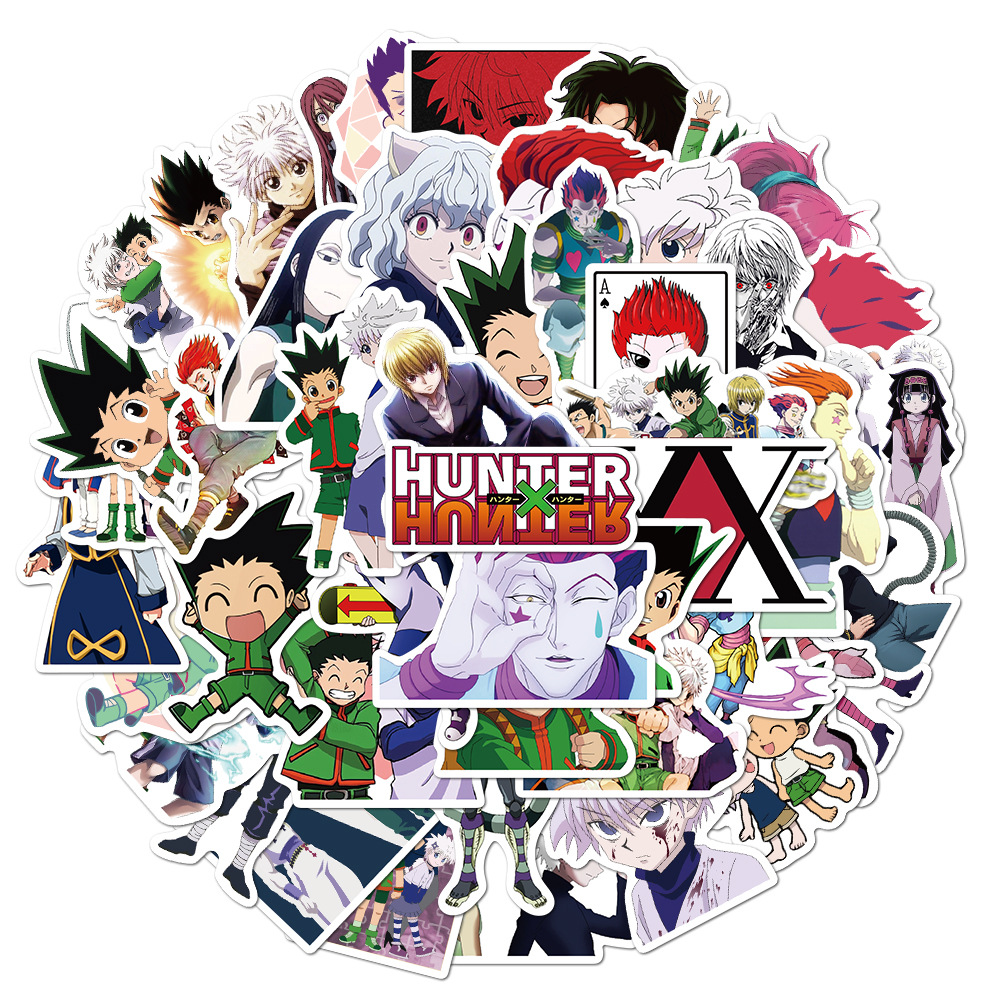 50Pcs Pack Cool Hunter x Hunter Anime Stickers Waterproof DIY Laptop Skateboard Luggage Cartoon Stickers Toy Decal For Children
