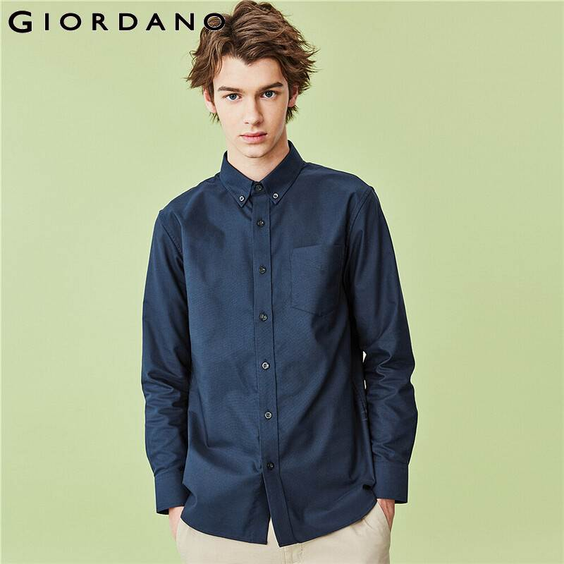 Giordano Men Shirts Wrinkle Free Oxford Shirt 100% Cotton Single Patch Pocket Silm Fitting Casual Camisas Hombre 01040479