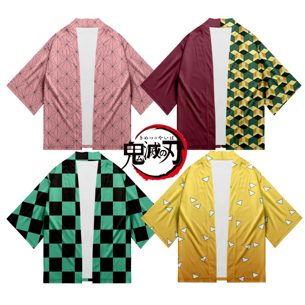 Anime Demon Slayer: Kimetsu No Yaiba Cosplay Costumes Kamado Tanjirou Kimono Jumpsuits Cardigan Pajamas Party Halloween Suit New