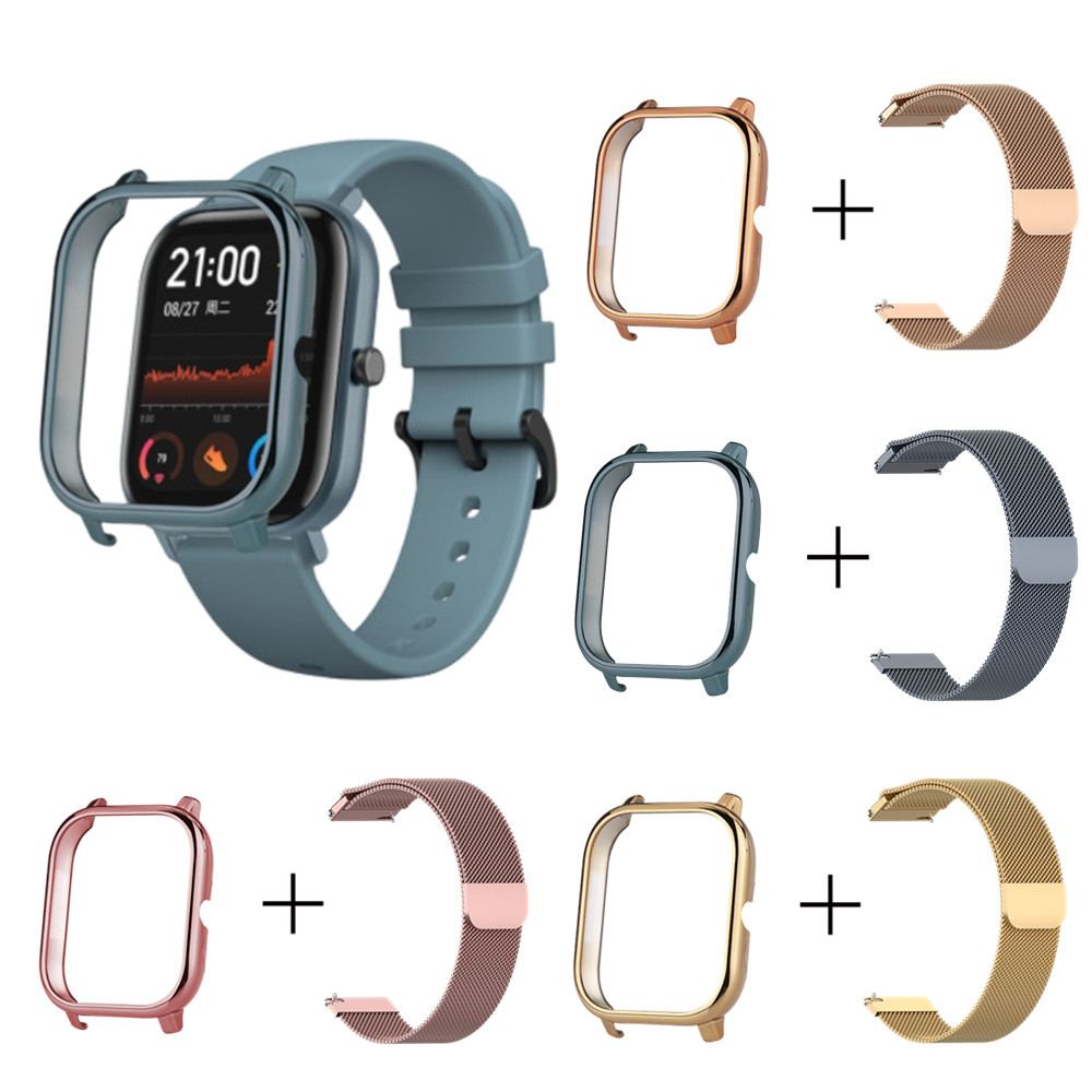 PC Protector Case Milanese Bracelet For Huami Amazfit GTS Frame Protective Cover Metal Watch Strap For GTS 2in1 Wristband+Shell