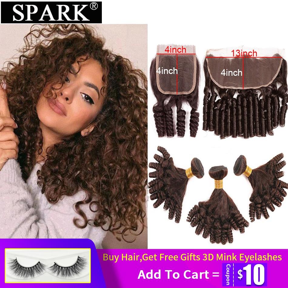 Spark Human Hair Brazilian Funmi Loose Bouncy Curly Human Hair Weave Bundles 3 Bundles with Closure Remy Human Hair Closure