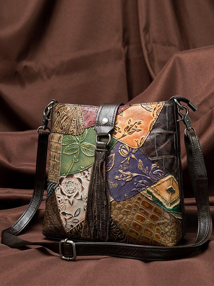 WESTAL Handbag Crossbody-Bags Patchwork Genuine-Leather Women's Ladies Female-Bags
