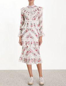 Осеннее Открытое платье с принтом, женская одежда, воротник-стойка, расклешенный рукав, высокая талия, оборки, трапециевидные платья, Vestidos, ж...