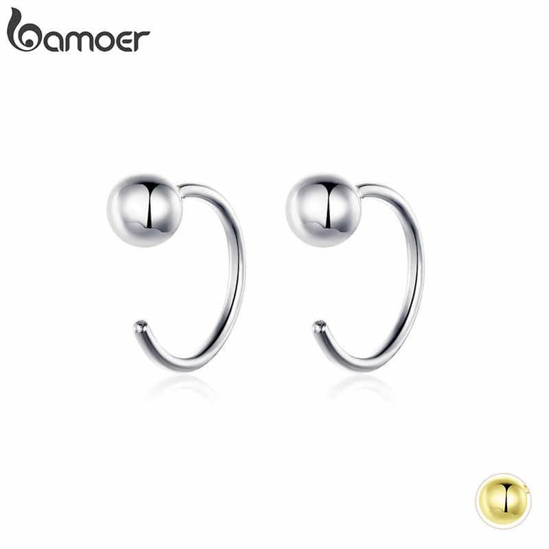 Bamoer prata 925 jóias minúsculas brincos de argola para mulheres cor de ouro estilo coreano hipoalergênico jóias acessórios menina sce782