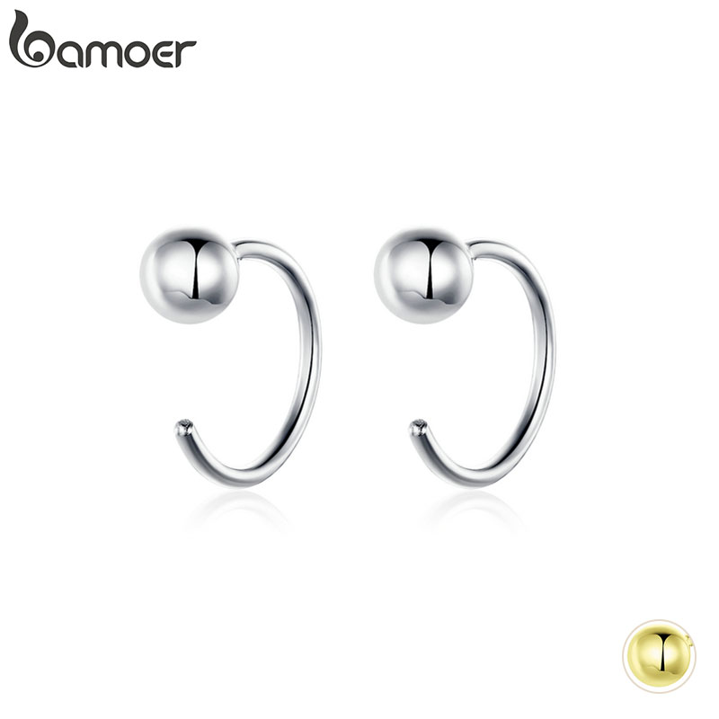 Bamoer Silver 925 Jewelry Tiny Stud Earrings For Women Gold Color Korean Style  Hypoallergenic Jewelry Accessories Girl SCE782