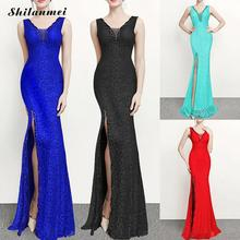 Elegant Long Dress Women Sleeveless Tank Sexy Party Deep V-Neck Long Mermaid Dress High Side Slit Lace Luxury Maxi Dresses high slit long sleeveless cami dress
