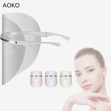 AOKO 2019 New 3 Color LED Photon Therapy Facial Mask Anti Acne Remove Wrinkle Skin Rejuvenation Face Beauty Machine Home use Spa portable high frequency spot acne remove face body skin spa machine anti aging facial skin care device salon home use