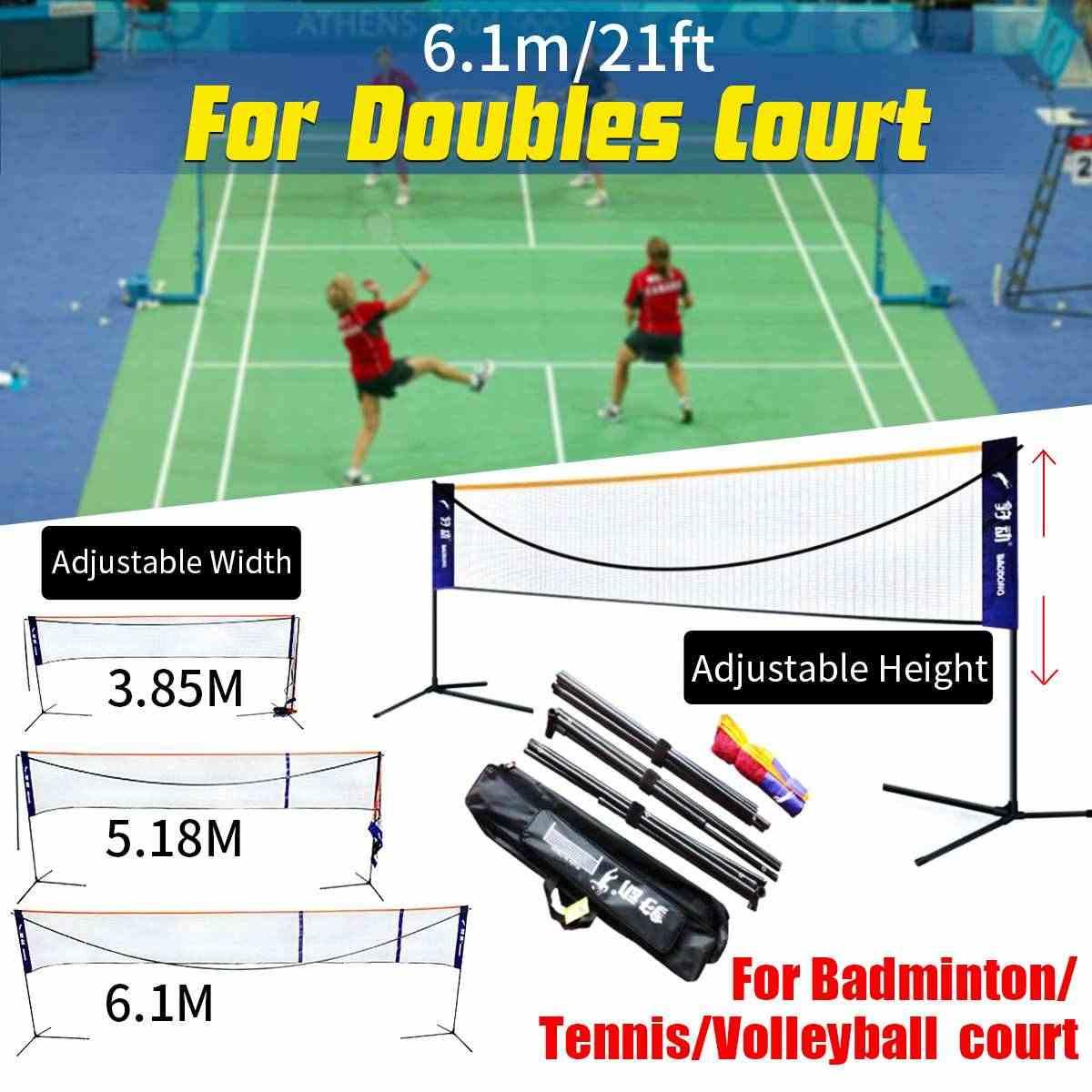 6.1M Badminton Tennis Net Stand Frame Net Rack Adjustable Portable Easy Carry