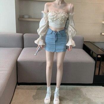 Horizontal Neck Shirt Female Summer New Style Korean-style Slimming French Tops