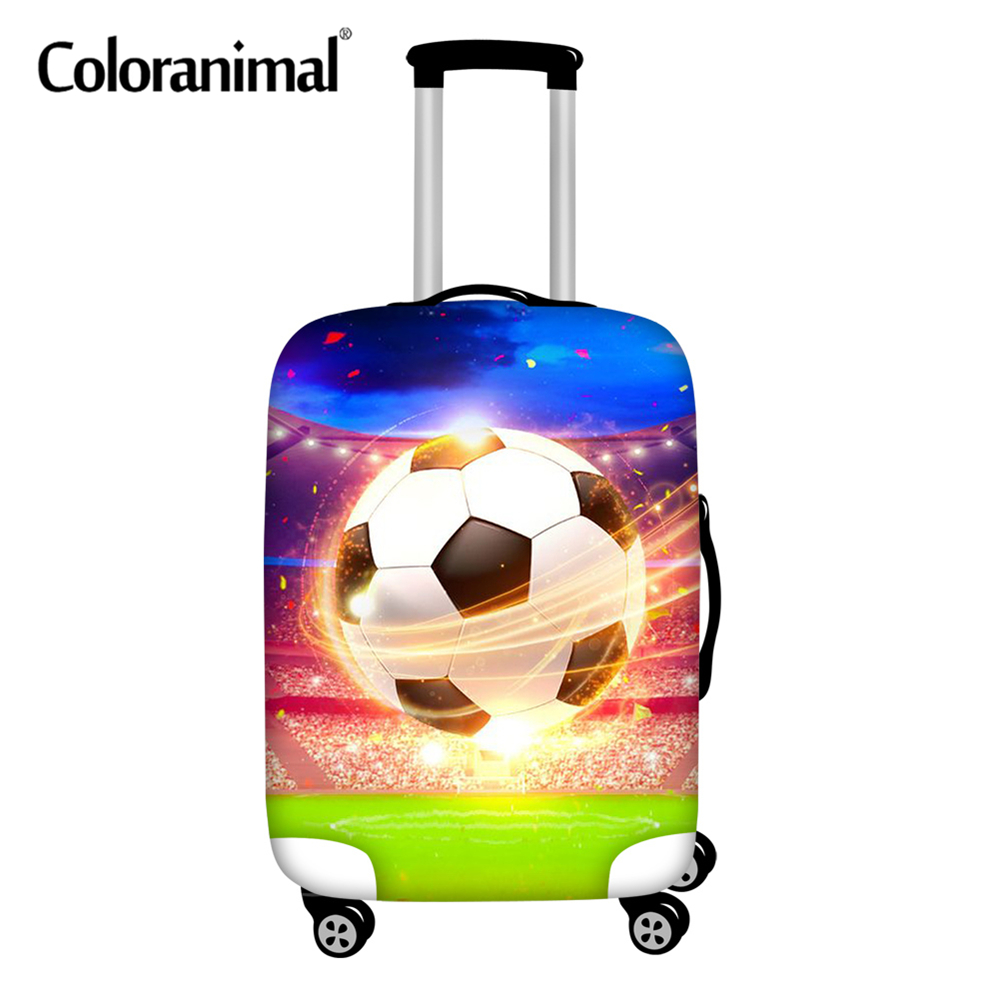Coloranimal Large Luggage Cover Soccer Football Print Elastic Waterproof Travel Luggage Protective Suitcase Cover For 18-32inch