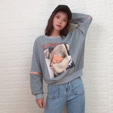 style korean sweatshirts 2019 autumn new letter pattern pull chain stitching loose Korean fashion long-sleeved hooded