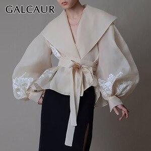 GALCAUR Vintage Organza Women Blouse Lapel Collar Lace Up Bow Lantern Long Sleeve Hit Color Shirt Female Fashion 2020 Tide