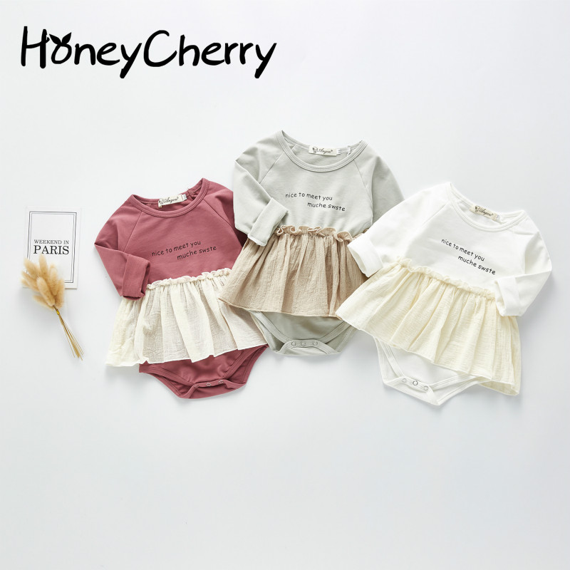 Spring Baby Bodysuit Korean Version Baby Girl Bodysuit Child Lovely Crawli Skirt Baby Girl Clothes