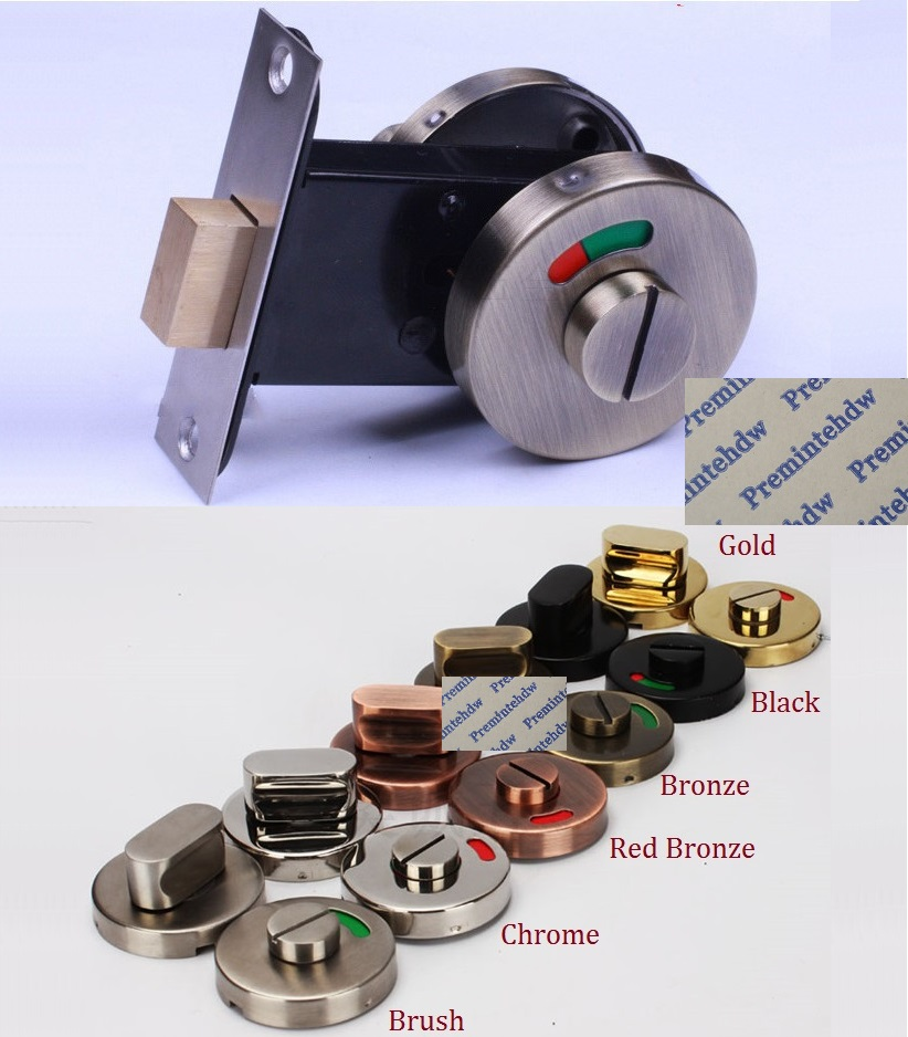 304 Stainless Steel Keyless Door Lock With Red Green Indicator Public Restroom Toilet Partition Thumbturn Gold Red Bronze Matte Black Brushed
