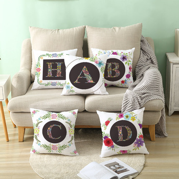Colorful Floral Alphabet Cushion Cover Home Decoratiion Polyester Sofa Car Seat Throw Pillow Cases Plant Letter Pillow Covers image