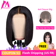 4x4 lace closure bob wig short straight natural Human Hair Wigs preplucked long for black women full remy Buy one get one free
