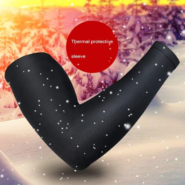 Luva aquecedora para braço, unissex, manga longa, para o inverno, esportes, cotoveleira, protetora, ciclismo, corrida, fitness, roupas esportivas 2