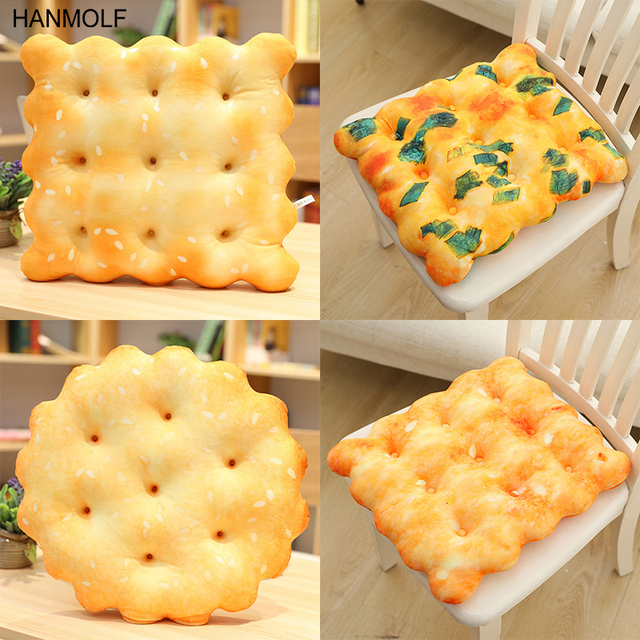 Creative Biscuits Plush Pillow Round Shape Square Sesame Plain Cookie Lifelike Food Snack Cushion Plushie Props 3 Kinds 1