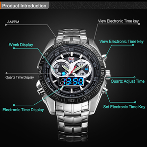 Image 3 - Men Watches waterproof Quartz Watch Double display Sport TVG Brand Digital LED Military writewatch Stainless Steel Male Clock