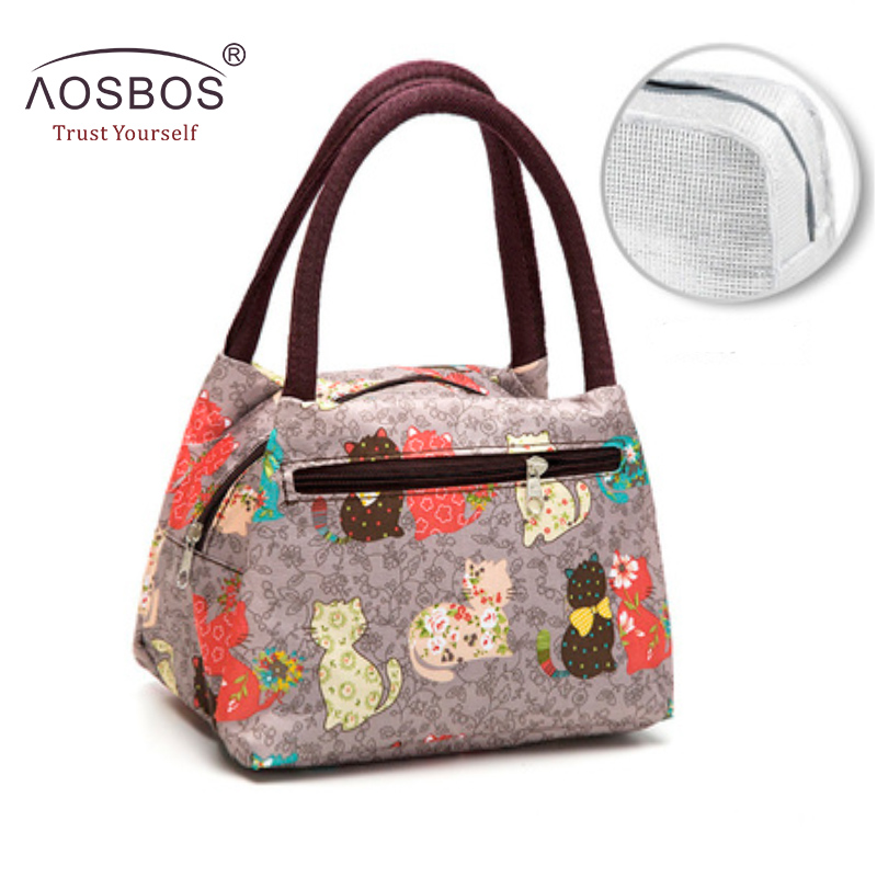 Aosbos Oxford Portable Cooler Lunch Bag Cartoon Print Thermal Insulated Food Bags Food Picnic Lunch Box Bag For Men Women Kids