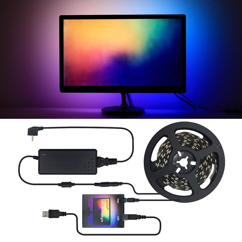 Ambilight Kit USB LED Strip light 5050 RGB Dream Color for HDTV Desktop PC Screen Background lighting Tape 2M 3M 4M 5M Full Set