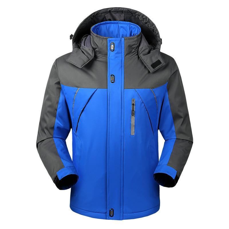 Осенняя и зимняя мужская спортивная куртка, плюс размер, Повседневный плащ, мужская куртка, плюс бархат, толстая, теплая, на открытом воздухе, Ветроустойчивая - Цвет: Синий