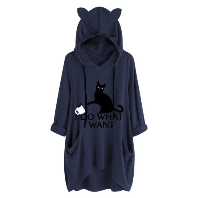 #Z40 Plus Size 5XL Hoodies Women Cartoon Print Cat Ear Hooded Long Sleeve Pocket Loose Sweatshirts Tracksuit Spring Autumn Tops 5