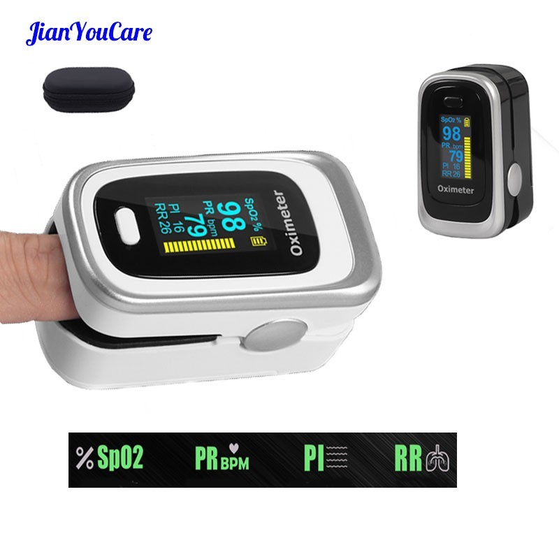 Finger Pulse Fingertip Oled Oximeter SPO2 PR PI RR Blood Oxygen With Respiratory Rate Oximetro De Pulsioximetro Dedo with case