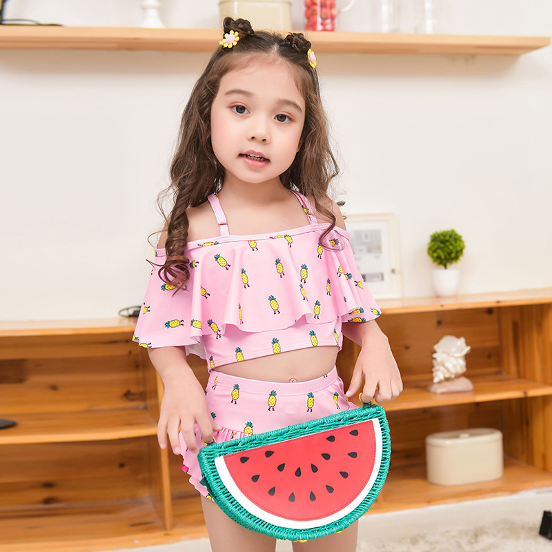2019 New Style Hot Sales KID'S Swimwear Split Skirt-Strap Adjustable Flounced Cartoon Boxer GIRL'S Swimsuit