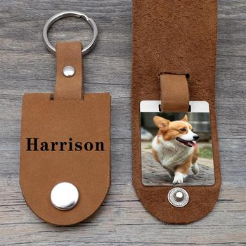 Engraved Leather Keychain, Pet Keychain,Custom Photo Keychain,Pet Lover Keychain with Your Dog/Cat Photo,Dog Lover Gifts geometric cat dark brown military dog tag keychain