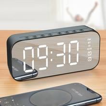 Factory Direct Sales Wireless Bluetooth Speaker with FM Mini Card Mirror Alarm Clock Audio Stall Collection Voice Prompt