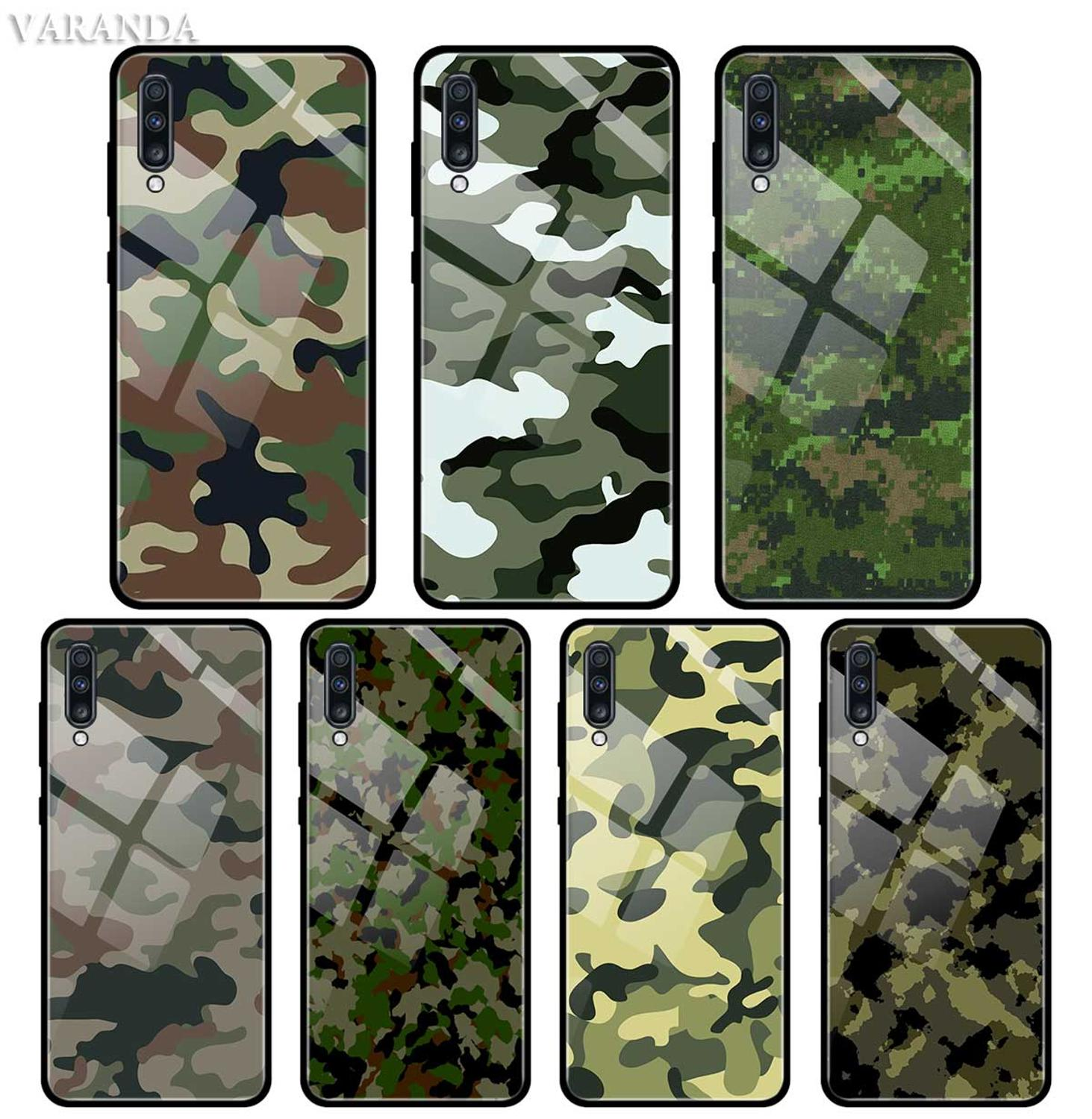 Camouflage Pattern Camo Military Army <font><b>Case</b></font> For <font><b>Samsung</b></font> A50 A40 A70 A71 A51 A30 A10 A10S A20S <font><b>M30S</b></font> J4 J6 Plus Tempered <font><b>Glass</b></font> Phon image