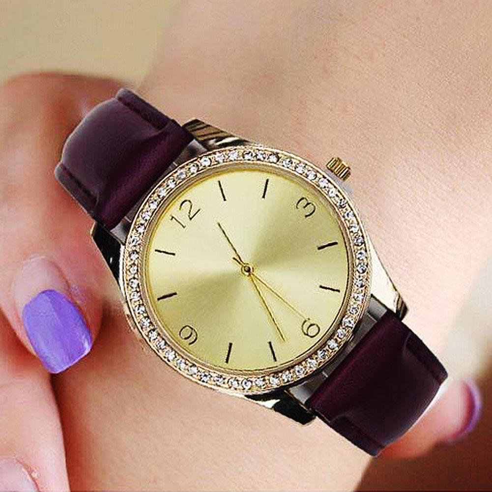 Fashion Brand Factory Direct Spot Couple Diamond Watch Arabic Numerals Round Dial Faux Leather Band Quartz Wrist Watch