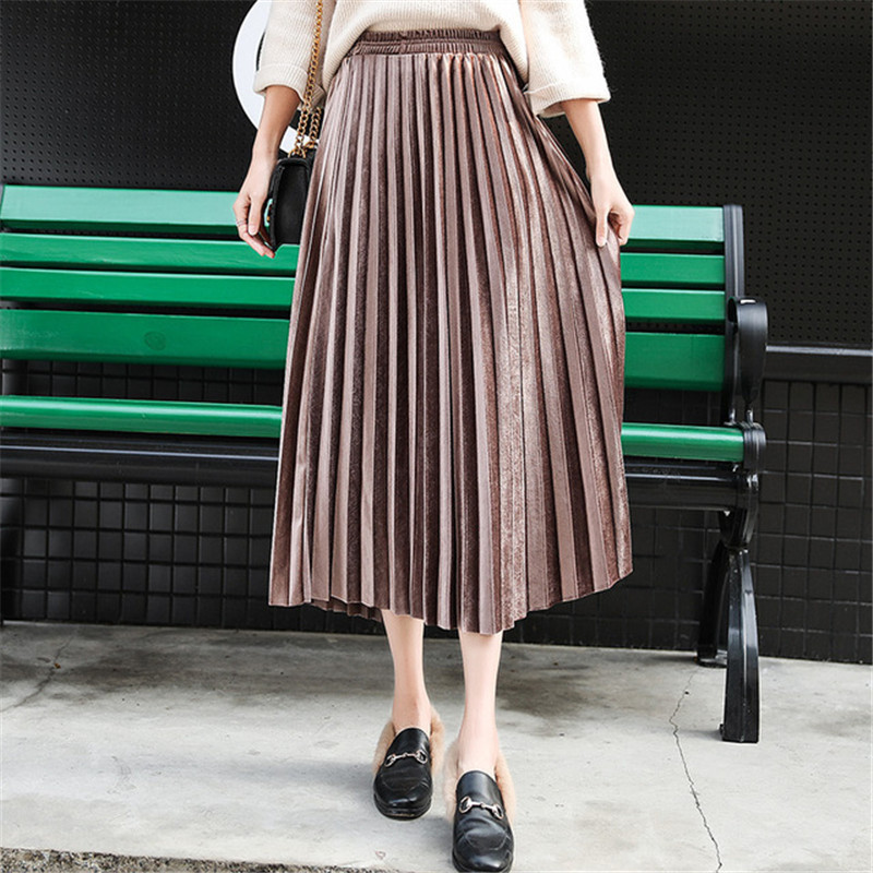 Spring Women Long Pleated Metallic Maxi Skirt Silver Midi Skirt High Waist Elastic Casual Party Skirt Vintage Gold Velvet Skirt