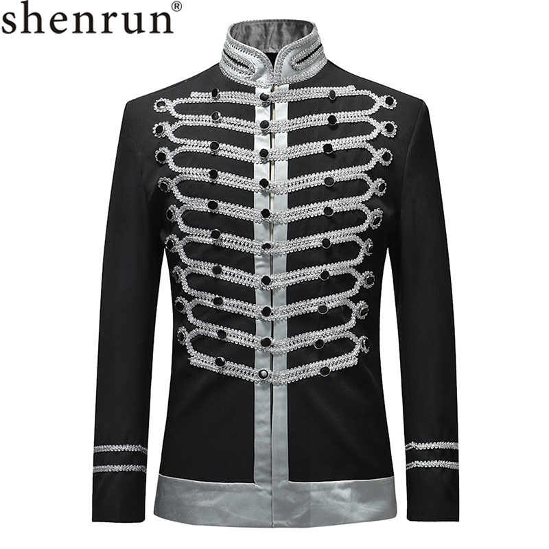 Shenrun 2019 Men Slim Fit Jackets Fashion Military Suit Jacket Blazer Single Breasted Drama Stage Costume Party Prom Plus Size