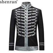 Shenrun 2019 Männer Slim Fit Jacken Mode Militär Anzug Jacke Blazer Einreiher Drama Bühne Kostüm Party Prom Plus Größe