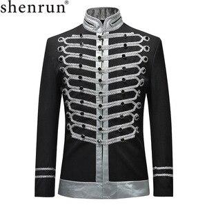 Image 1 - Мужская приталенная куртка Shenrun, блейзер в стиле милитари, однобортная драматическая сцена, вечерние костюмы размера плюс для выпускного вечера, 2019