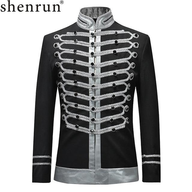 Мужская приталенная куртка Shenrun, блейзер в стиле милитари, однобортная драматическая сцена, вечерние костюмы размера плюс для выпускного вечера, 2019