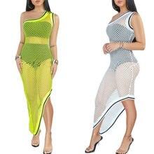 Women Hollow Mesh Beach One Shoulder Bikini Cover Up Maxi Holiday Long Dress Hot