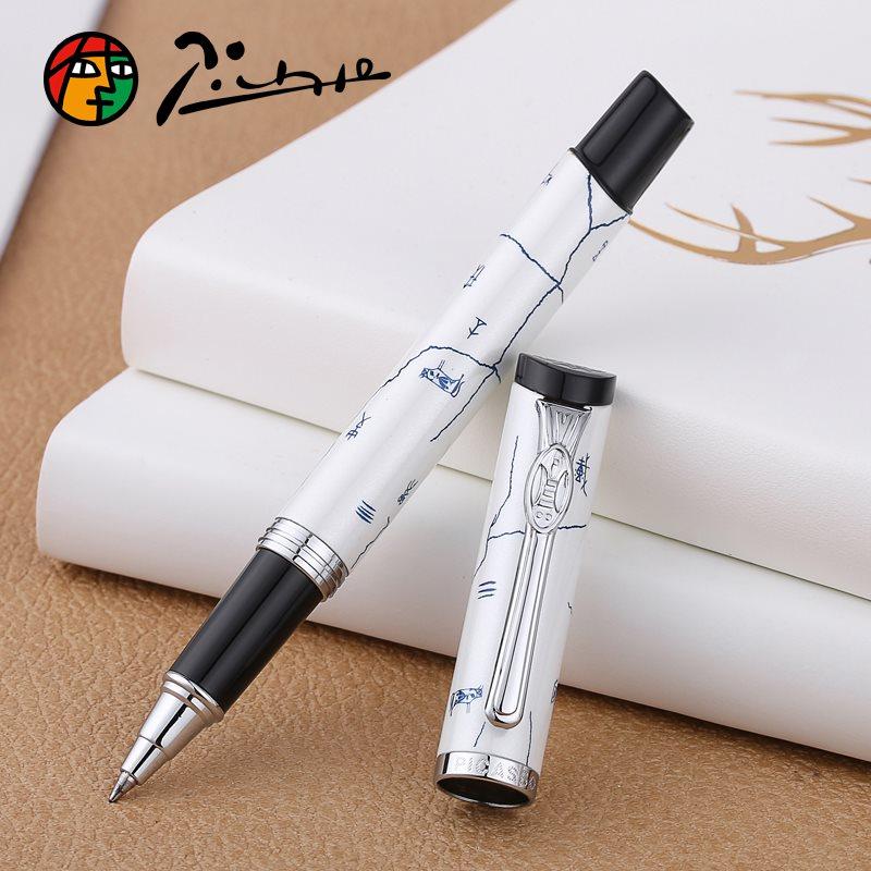 Pimio927 stylo à bille de luxe blanc avec Clip argent 0.5mm recharge d'encre noire stylos à bille en métal Noble écriture papeterie cadeau