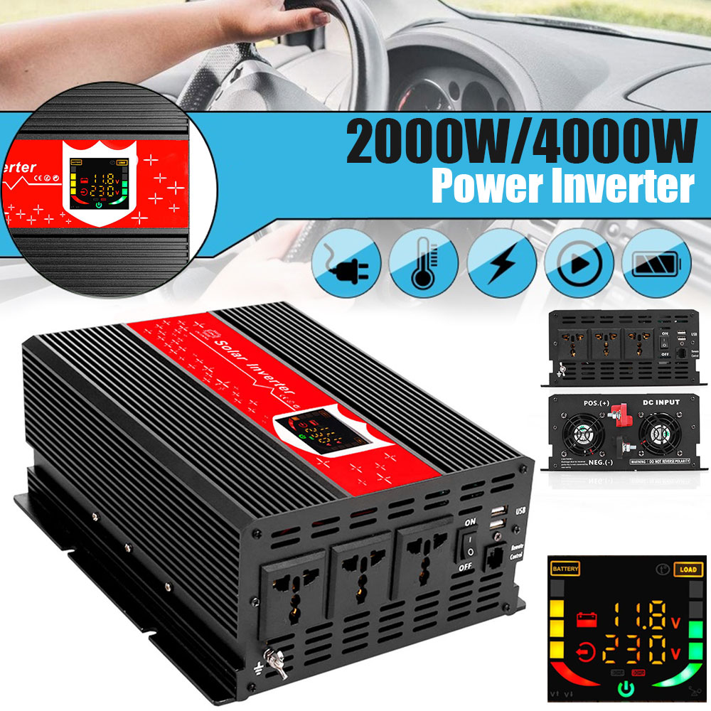 Power Inverter <font><b>KFZ</b></font> <font><b>Wechselrichter</b></font> LED-Display Spannungswandler Dual Digital Display Transformator 1000W 2USB image