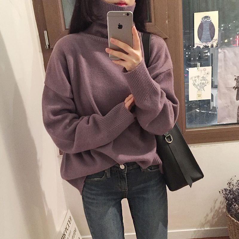 New Turtleneck Winter Sweater Women Pullover Girls Tops Vintage Autumn Elegant Female Knitted Outerwear Warm Sweater Oversize