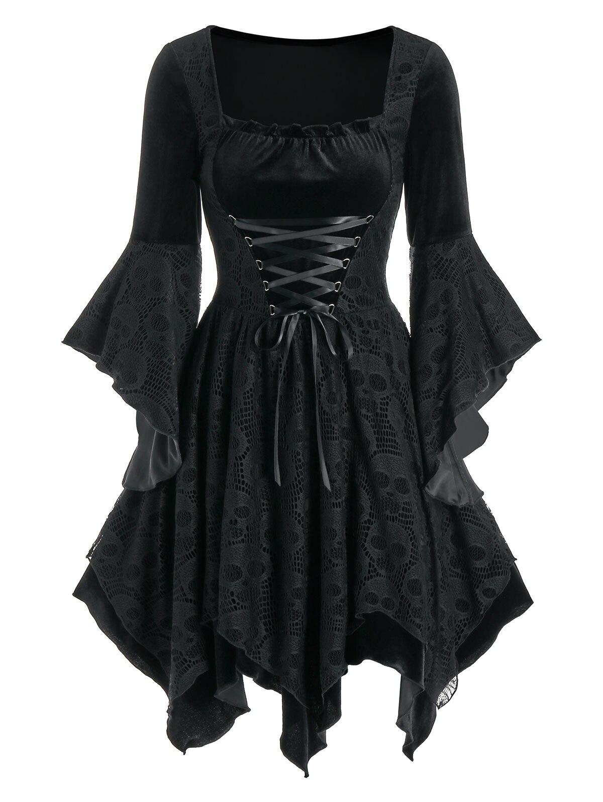 Wipalo Vintage Schwarz Samt Gothic Kleid Frauen Schädel Spitze Einsatz Spitze-Up Taschentuch Kleid Weibliche Party Kleider Streetwear 3XL