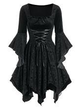 Wipalo – robe gothique en velours noir pour femmes, Vintage, tête de mort, dentelle, mouchoir, robes de soirée, Streetwear, 3XL