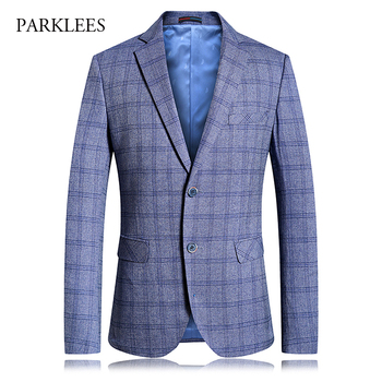 Luxury Plaid Mens Suit Jacket 2019 Brand New Single Breasted Two Button Tuxedo Blazer Men Party Wedding Prom Stage Costumes 4XL