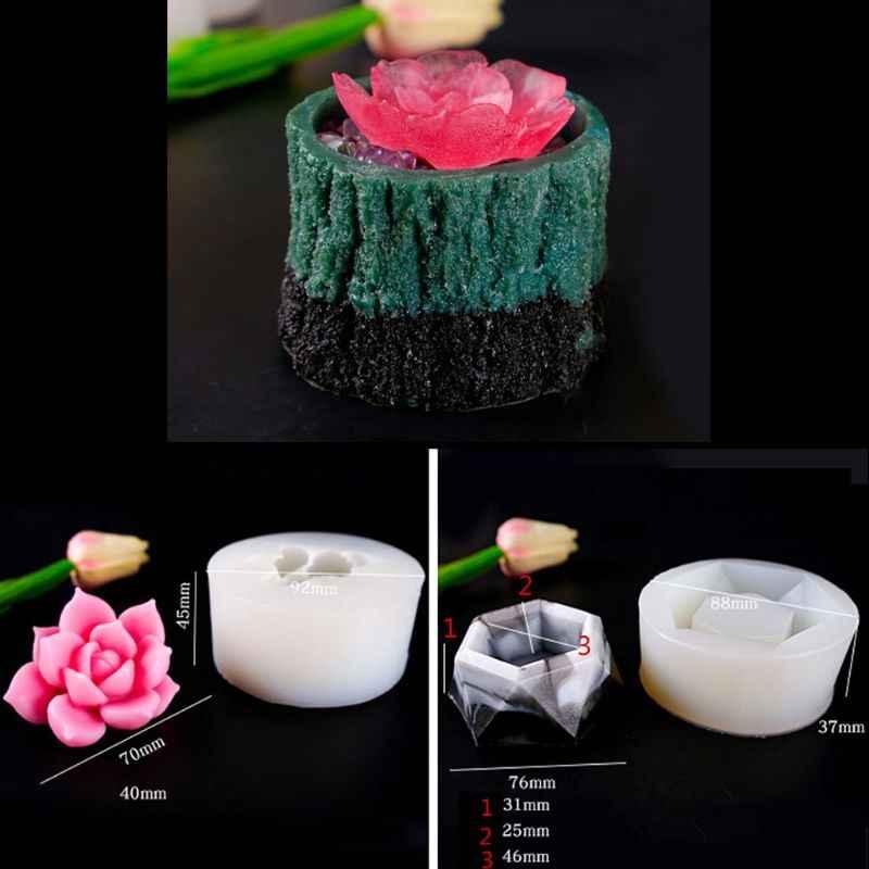 Résine plantes succulentes moule Pot de fleur moules planteur Pot moule porte-stylo moules T4MD